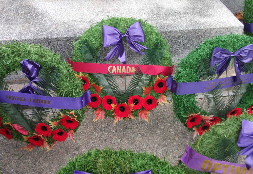 Canada Wreath at the bast of the Mount Forest Cenotaph